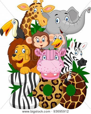 Cartoon collection animal zoo