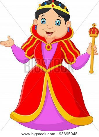 Cartoon queen holding scepter