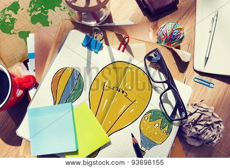Hot Air Balloon Bulb Ideas Imagination Flight Concept