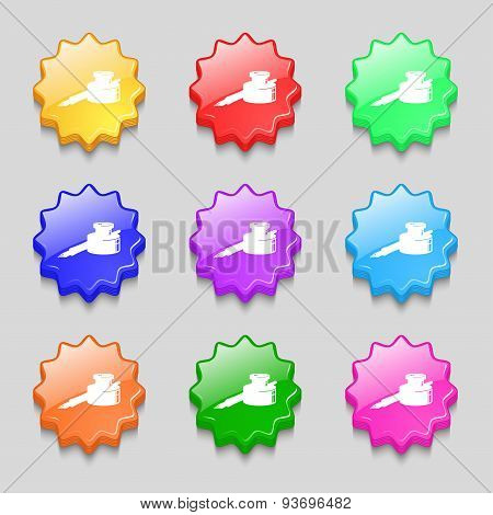 Pen And Ink Icon Sign. Symbol On Nine Wavy Colourful Buttons. Vector