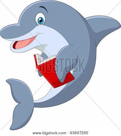 Cartoon Standing little Dolphin holding book