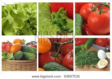 Collage With Fresh And Tasty Vegetables