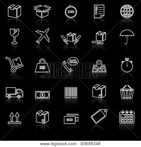Shipping Line Icons With Reflect On Black
