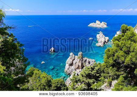 Clear Blue Greek Rocky Coast At Paleokastritsa