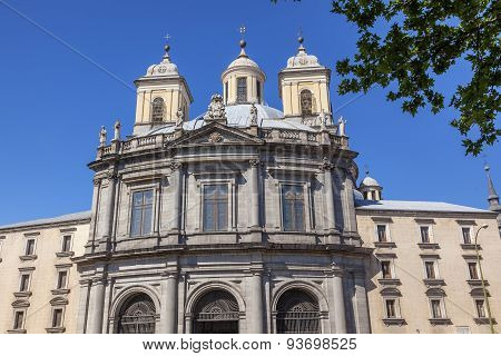 San Francisco El Grande Steeples Outside Royal Basilica Madrid Spain