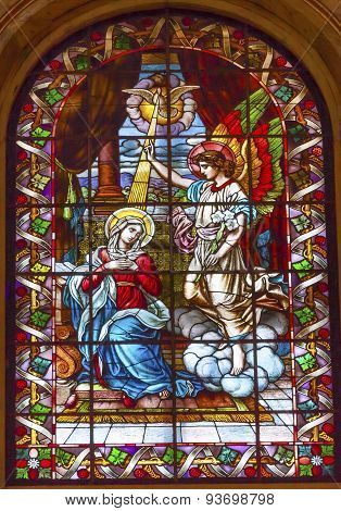 Annunciation Mary Angel Gabriel Stained Glass San Francisco El Grande Royal Basilica Madrid Spain