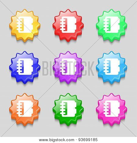 Notepad, Calendar Icon Sign. Symbol On Nine Wavy Colourful Buttons. Vector
