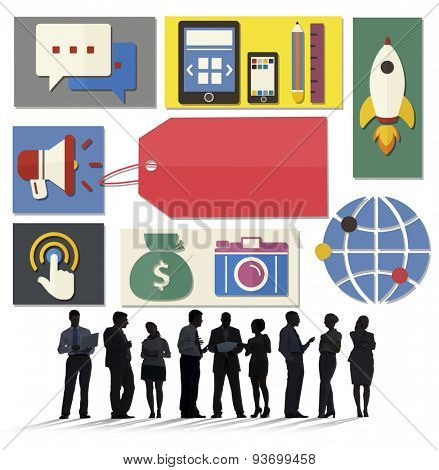 Business People Digital Media Communication Global Connection Concept