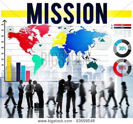 Mission Objective Aim Growth Corporate Goal Concept