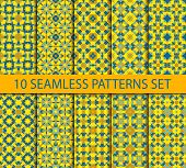 foto of ten  - Set of chinese seamless patterns with gold on blue contains ten unrepeatable ornaments with Swatch for filling - JPG