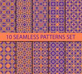 stock photo of ten  - Set of oriental seamless patterns in purple colors on a coral contains ten unrepeatable ornaments with swatch for filling - JPG