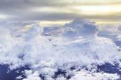 foto of stratus  - Nimbus in cloudscape with orange of sunshine - JPG