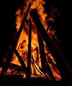 image of bonfire  - Big bonfire against dark night sky - JPG