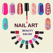 image of nail-design  - Vector Set of colorful nail polish bottles - JPG
