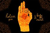 picture of pranayama  - Element yoga mudra hands with mehndi patterns - JPG