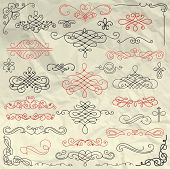 pic of divider  - Set of Hand Drawn Colorful Doodle Design Elements on Crumpled Paper Texture - JPG