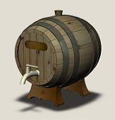 picture of spigot  - Wooden barrel with a tap on the legs and the plate isolated - JPG