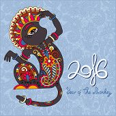 pic of ape  - original design for new year celebration with decorative ape and inscription  - JPG