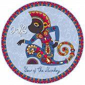 foto of ape  - original design for new year celebration with decorative ape and inscription  - JPG