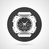 stock photo of chronometer  - Single black flat round vector icon with white contour sports wrist watch with chronometer on gray background - JPG