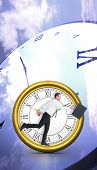 pic of roman numerals  - Businessman walking with his briefcase against digitally generated roman numeral clock - JPG
