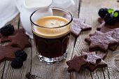 picture of whole-wheat  - Coffee in a glass with whole wheat chocolate cookies - JPG