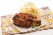 stock photo of beef shank  - pork shank roasted with leaf salad for snack fast food - JPG