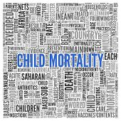 picture of saharan  - Close up CHILD MORTALITY Text at the Center of Word Tag Cloud on White Background - JPG