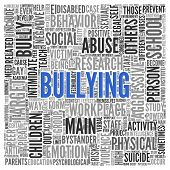 image of school bullying  - Close up BULLYING Text at the Center of Word Tag Cloud on White Background - JPG