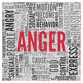 stock photo of anger  - Close up ANGER Text at the Center of Word Tag Cloud on White Background - JPG