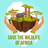 Постер, плакат: Save the wildlife of Africa concept