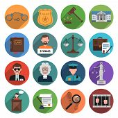 foto of handcuff  - Law icon flat set with handcuffs attorney scales gavel isolated vector illustration - JPG