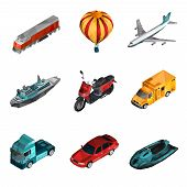 stock photo of railroad car  - Transport isometric set with low poly motorcycle railroad van icons isolated vector illustration - JPG