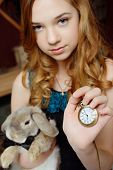 stock photo of alice wonderland  - Young girl at the image of Alice in Wonderland - JPG