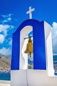 pic of blue-bell  - Typical blue and white Greek church bell tower - JPG