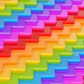 stock photo of dimentional  - Abstract background composition made of rainbow colored wavy dimensional plates - JPG