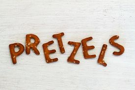 image of pretzels  - Word pretzels written with pretzel - JPG