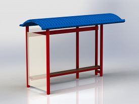 pic of bus-shelter  - Bus Stop with billboards red with blue roof insulated - JPG