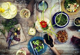image of food plant  - Food Table Healthy Delicious Organic Meal Concept - JPG