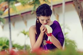 picture of national costume  - Thailand National Costume Asian woman wearing thai traditional dress - JPG