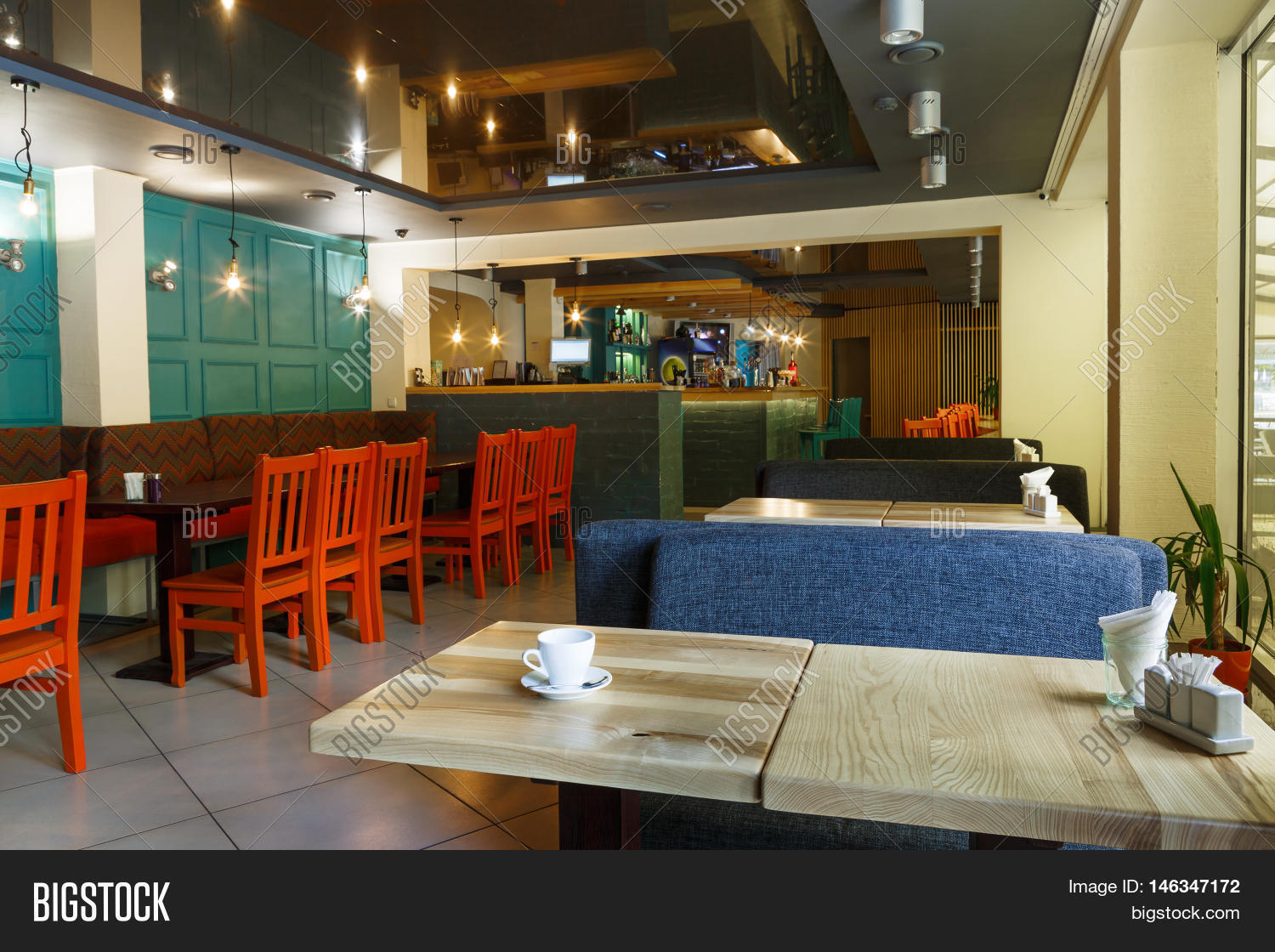 modern restaurant or cafe interior. public place interior design