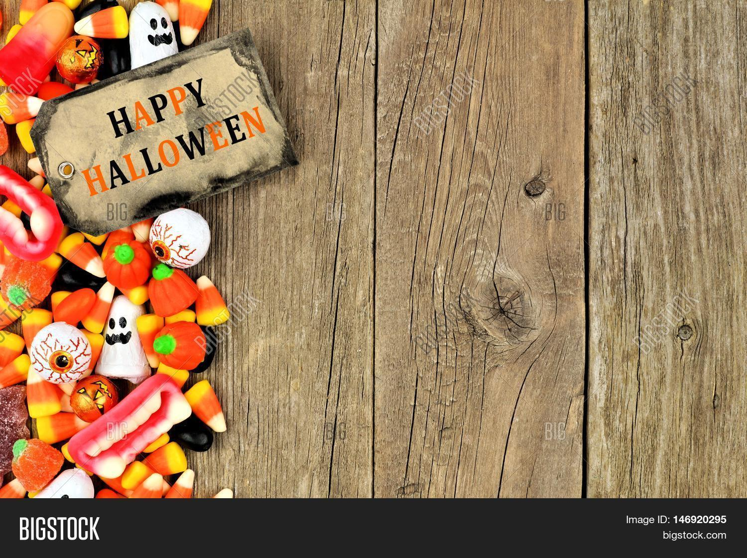 happy halloween tag candy side image amp photo bigstock