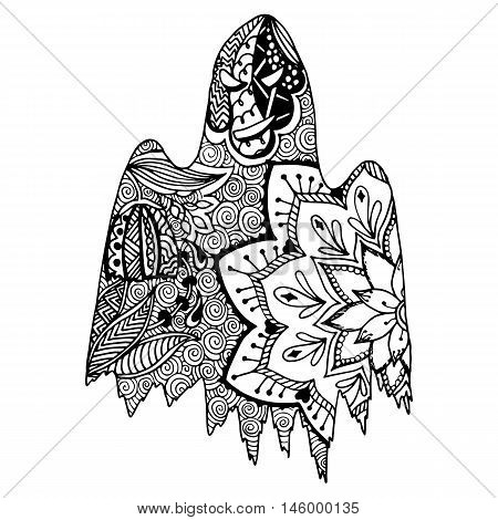 Hand drawn ghost in doodle style. Vector illustration.