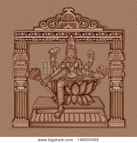 Vector design of Vintage statue of Indian Goddess Siddhidatri sculpture one of avatar from Navadurga engraved on stone