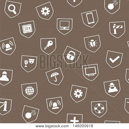 Safety, seamless pattern, brown. Vector colored background with images of protection and security of people, information and gadgets. White icons on gray-brown background.