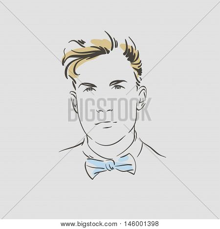 Handsome young man in bow tie vector illustration