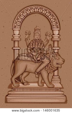 Vector design of Vintage statue of Indian Goddess Skanda Mata sculpture one of avatar from Navadurga engraved on stone