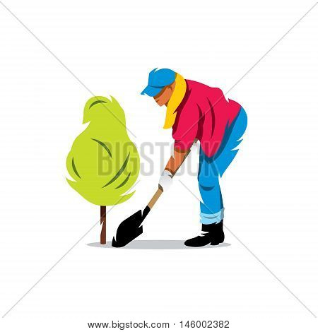 Girl gardener spade spud bush. Isolated on a white background