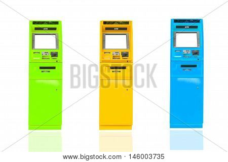 Automatic Teller Machine on isolated white background.