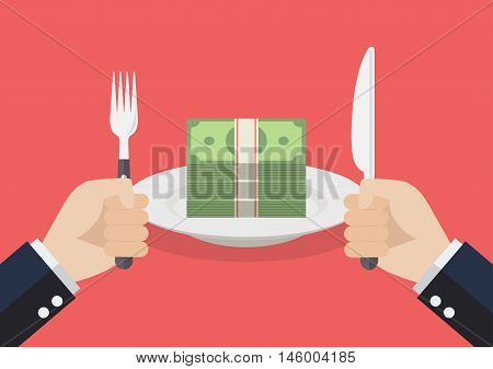 Businessman eating banknotes. Consumerism and corruption concept